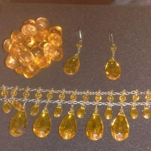Jewelry - Tangerine jeweled earrings and choker set
